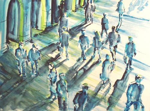 Carmen Kroese, Menschen und Schatten II, People: Group, Expressionism
