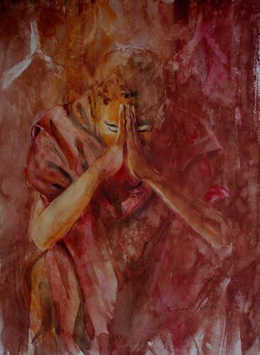 Carmen Kroese, Betender Mönch, Belief, People: Men, Contemporary Art, Expressionism
