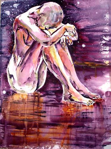 Carmen Heidi Kroese, Akt sitzend, Erotic motifs: Female nudes, Emotions: Grief, Contemporary Art, Expressionism