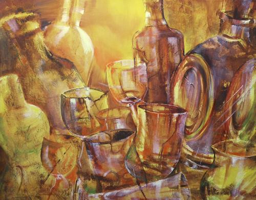 Carmen Kroese, Whiskyflaschen und Gläser, Parties/Celebrations, Still life, Contemporary Art