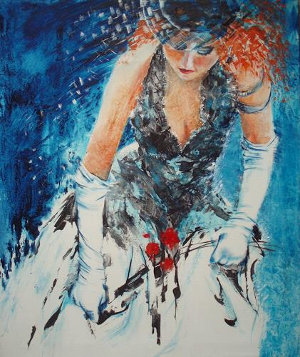 Carmen Heidi Kroese, Das Brautbouquet, People: Women, Emotions: Love, Contemporary Art, Expressionism