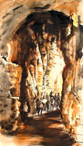 Carmen Heidi Kroese, Der Weg ins Licht 61x 34, People: Group, Contemporary Art