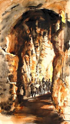 Carmen Kroese, Der Weg ins Licht 61x 34, People: Group, Contemporary Art