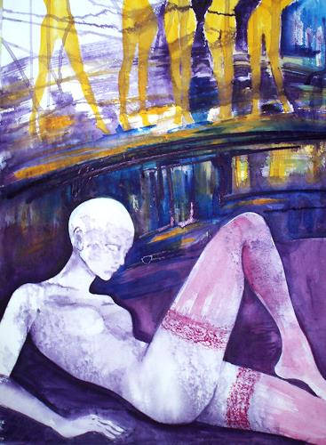 Carmen Kroese, Burn out einer Schaufensterpuppe, Erotic motifs: Female nudes, People: Women, Contemporary Art, Abstract Expressionism
