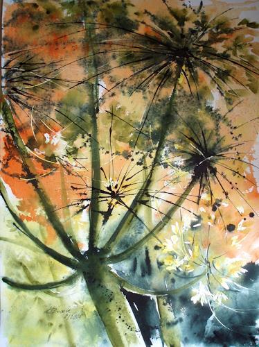Carmen Heidi Kroese, Wiesenblumen aus der Froschperspektive, Nature: Earth, Plants: Flowers, Contemporary Art, Expressionism