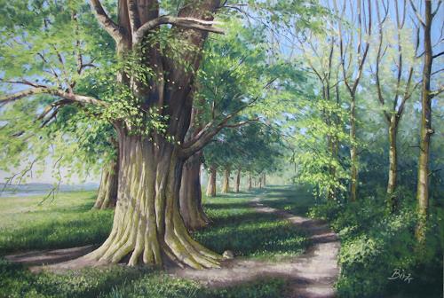 Kerstin Birk, Frühling an der Elbe (b. Kreinitz), Landscapes: Spring, Plants: Trees, Realism, Expressionism