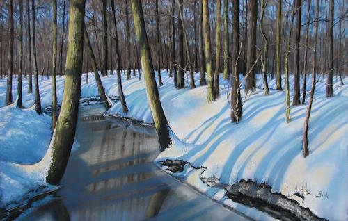 Kerstin Birk, Bach im Winter (Zabeltitz), Landscapes: Winter, Plants: Trees, Realism, Expressionism