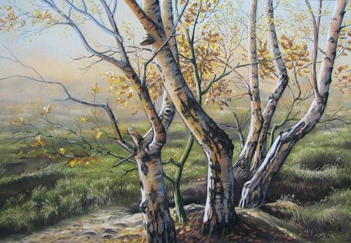 Kerstin Birk, Gohrisch Heide I (Gohlis), Landscapes: Autumn, Plants: Trees, Realism, Expressionism