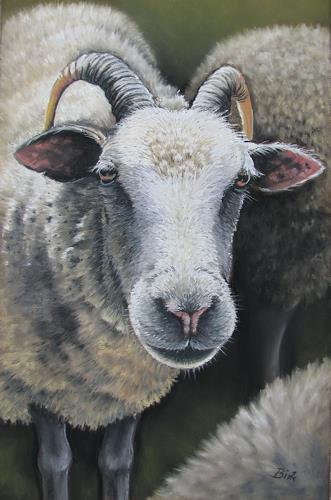 Kerstin Birk, Porträt eines Schafbocks, Animals: Land, Miscellaneous Animals, Realism, Expressionism