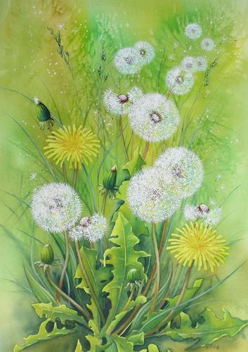 Kerstin Birk, Pusteblumen II, Plants: Flowers, Times: Spring, Realism, Expressionism