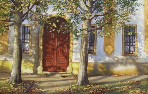 Kerstin Birk, Schattenspiele, Buildings: Houses, Landscapes: Autumn, Realism