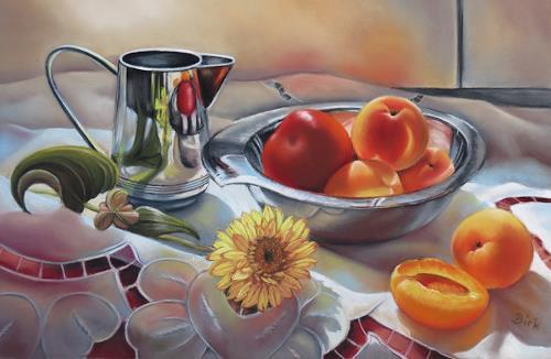 Kerstin Birk, Metallkanne und Aprikosen, Meal, Still life, Realism, Expressionism