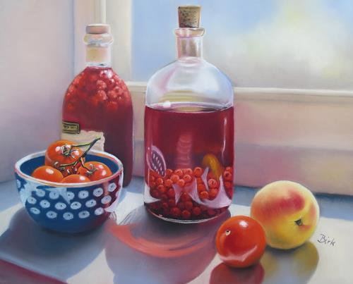 Kerstin Birk, Likör und Tomaten, Still life, Harvest, Realism, Expressionism
