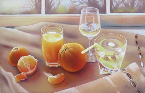 Kerstin Birk, Getränke und Apfelsine, Meal, Still life, Realism, Expressionism