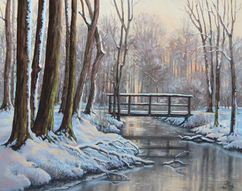 Kerstin Birk, Verschneite Brücke, Landscapes: Winter, Plants: Trees, Realism, Expressionism