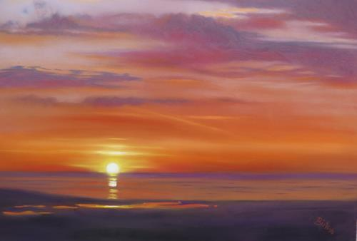 Kerstin Birk, Sonnenuntergang in Lynmouth, Landscapes: Beaches, Nature: Water, Realism, Expressionism