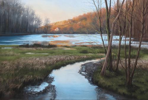Kerstin Birk, Letztes Glühen, Landscapes: Winter, Nature: Water, Realism, Expressionism