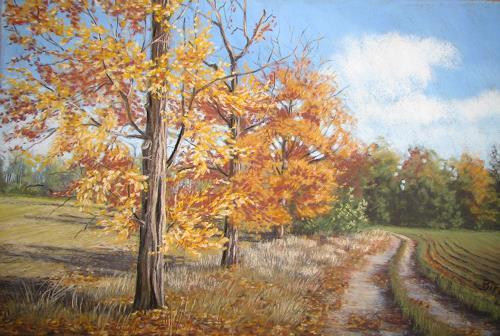 Kerstin Birk, Feldweg bei Tiefenau, Landscapes: Autumn, Times: Autumn, Realism, Expressionism
