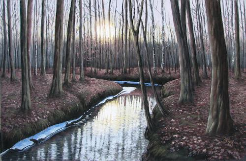 Kerstin Birk, Sonnenuntergang (Zabeltitz), Landscapes: Winter, Nature: Wood, Realism, Expressionism