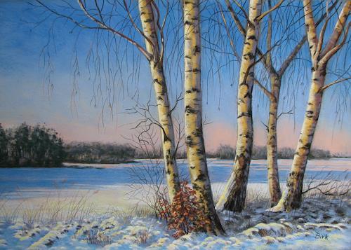 Kerstin Birk, Birkengruppe in der Nachmittagssonne (Röderau), Landscapes: Winter, Plants: Trees, Realism, Expressionism