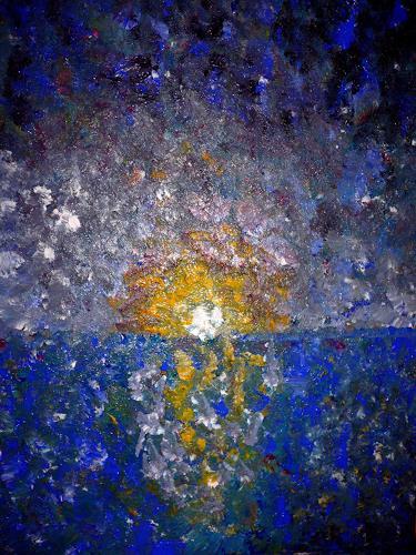 Agnes Abplanalp, Nightfall, Nature: Water, Romantic motifs: Sunset, Pointillism