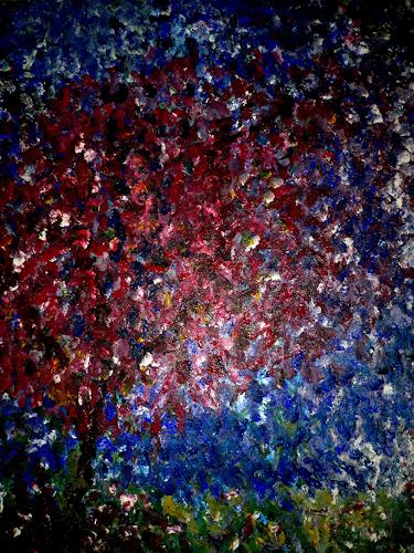 Agnes Abplanalp, Magenta Tree, Landscapes: Summer, Plants: Trees, Pointillism