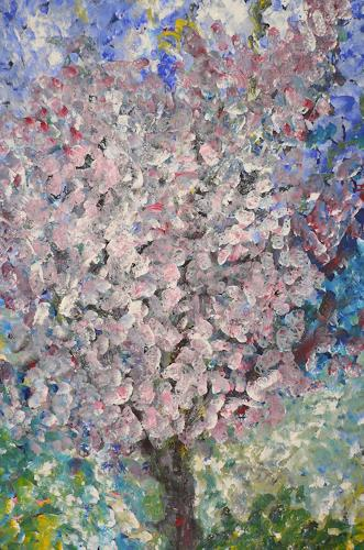 Agnes Abplanalp, Cherry Tree, Landscapes: Spring, Times: Spring, Pointillism, Expressionism