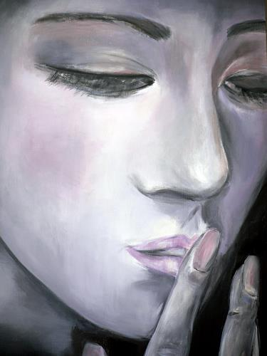 Agnes Abplanalp, Whispers, People: Women, People: Faces, Contemporary Art, Expressionism