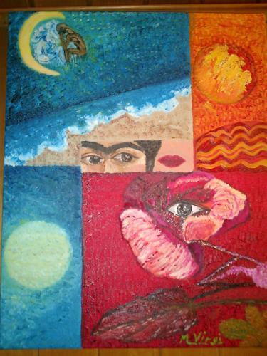 Virgy, hinking about Frida kahlo, Fantasy, Abstract art