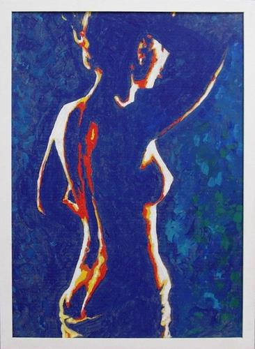 beatus kirchhofer, Akt in blau, Erotic motifs: Female nudes, Contemporary Art, Expressionism