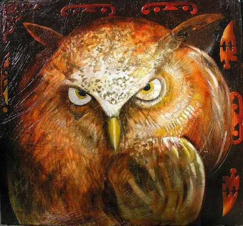 Anselmi, owl in the dark, Animals: Air, Animals: Land, Naturalism, Abstract Expressionism