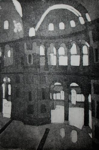 Andrea Finck, Hagia Sophia, Radierung mit Aqua tinta, Architecture, History, Contemporary Art