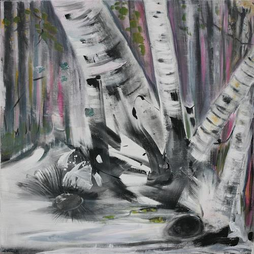Andrea Finck, Birkenwald, Landscapes: Spring, Miscellaneous Landscapes, Contemporary Art, Abstract Expressionism