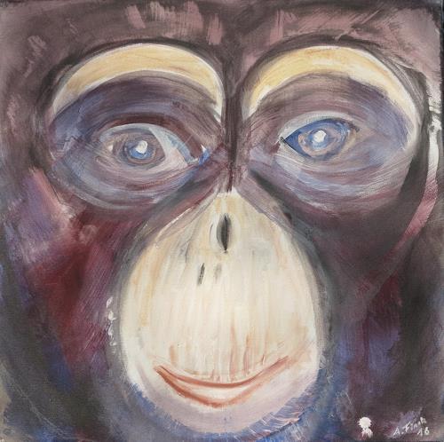 Andrea Finck, Monkey, Animals: Land, Animals, Contemporary Art