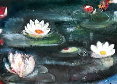 Andrea Finck, Seerosen, Plants: Flowers, Nature: Water, Impressionism