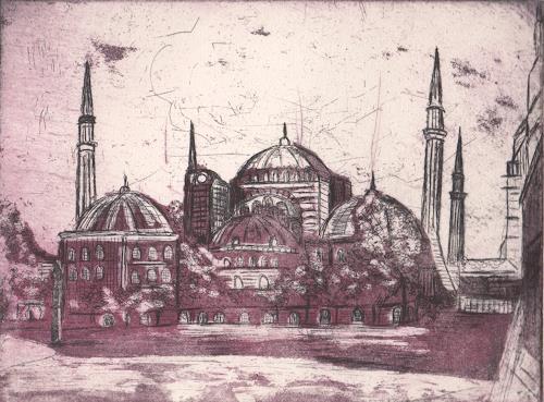 Andrea Finck, Radierung -Aquatinta Hagia Sophia, Architecture, Religion, Historism