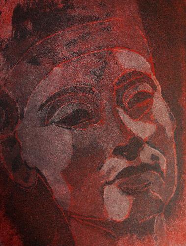 Andrea Finck, Nofretete - Radierung - Aquatinta, Mythology, Historism, Abstract Expressionism