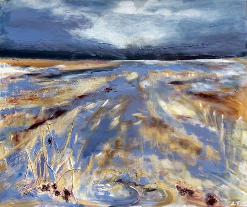 Andrea Finck, Marschlandschaft, Landscapes, Nature, Contemporary Art, Expressionism