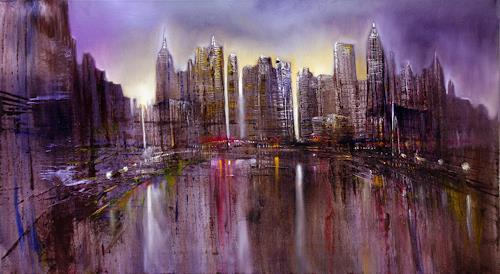Annette Schmucker, Skyline, Architecture, Buildings: Skyscrapers, Contemporary Art, Expressionism
