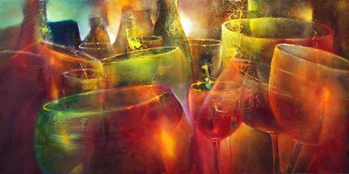 Annette Schmucker, Zu später Stunde, Parties/Celebrations, Still life, Contemporary Art, Expressionism