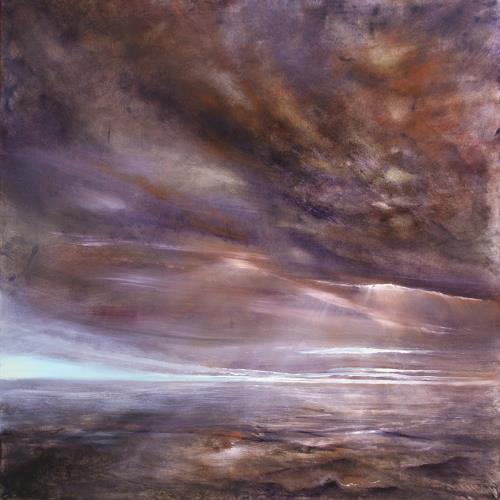 Annette Schmucker, In einer Stunde, Landscapes: Sea/Ocean, Romantic motifs: Sunset, Contemporary Art, Expressionism
