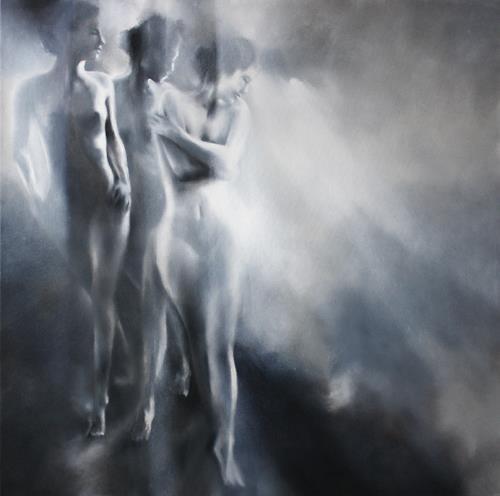 Annette Schmucker, Karla, Karla und Karla, Erotic motifs: Female nudes, People: Women, Contemporary Art, Expressionism