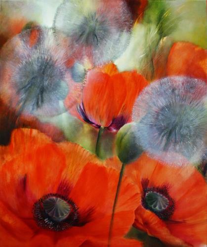 Annette Schmucker, Mohn und Pusteblumen_, Plants: Flowers, Landscapes: Spring, Contemporary Art, Expressionism