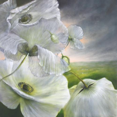 Annette Schmucker, Im Sommerwind, Plants: Flowers, Times: Summer, Contemporary Art, Expressionism