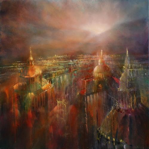 Annette Schmucker, Die Stadt erwacht, Architecture, Buildings: Churches, Contemporary Art, Expressionism