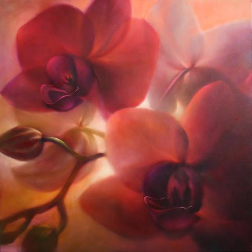 Annette Schmucker, Orchideen, rotviolett, Decorative Art, Plants, Contemporary Art, Expressionism