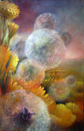 Annette Schmucker, Löwenzahn und Schmetterling, Plants: Flowers, Contemporary Art, Expressionism