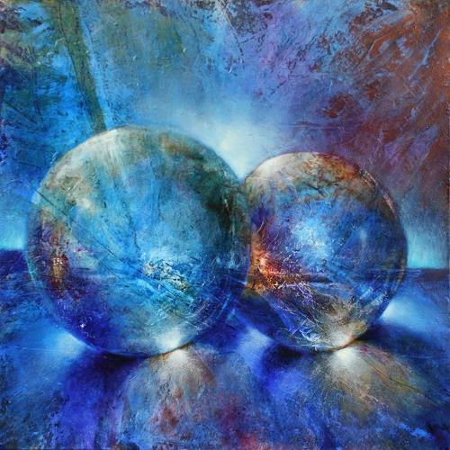 Annette Schmucker, Zwei blaue Murmeln, Still life, Miscellaneous, Contemporary Art, Expressionism