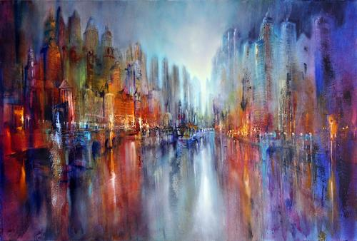 Annette Schmucker, Stadt am Fluss, Architecture, Buildings: Skyscrapers, Contemporary Art, Expressionism