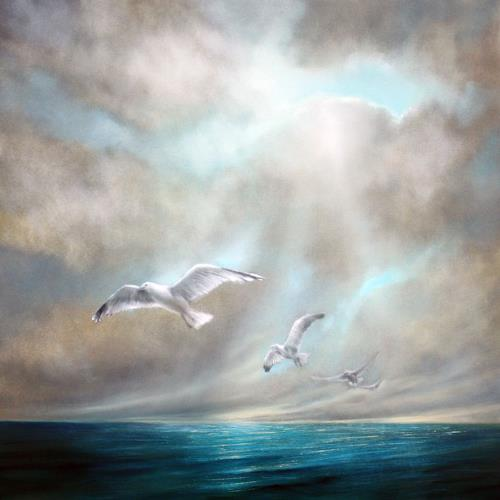 Annette Schmucker, Frei sein, Landscapes: Sea/Ocean, Nature: Water, Hyperrealism, Expressionism